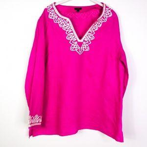Talbots Women's Tunic Embroidered 100% Linen